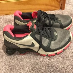 Gently worn pink and grey NIKE shocks
